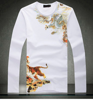 2013 new arrival style dragon totem tattoo long sleeve Free shipping Brand poloshirt t shirt for men tshirt 4XL free shipping