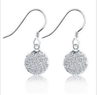 Free Shipping Gorgeous 925 Sterling Silver Shamballa Earrings Woman's Earing Wholesale Fashion Jewelry Can Drop Ship WYY006-A