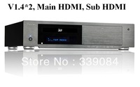 Free shipping! HiFi 3d bluray hdd player, HDMI V1.4*2, Main HDMI and Sub HDMI,support 3D,BD,ISO,BDMV,DLNA, QDEO,3TB hard disk