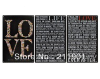 Free Shipping LIFE AND LOVE Retro Tin Signs 3pcs/lot