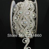 1yds Clear Crystal AB Rhinestone Silver Stunning Bridal Costume Trim Applique