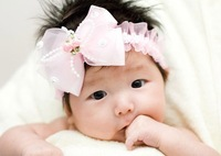 On Sale! Baby Cute Lace Bowtie Headband Newborn Fashion Hair Band Kids Photograpy Props 3 Colors (10 pcs/lot),Free Shipping