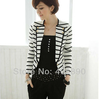 2013 Autumn New Arrived Women Slim wild black and white striped coat solid color small suit