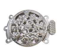 Free shipping!!!Brass Box Clasp,Vintage Jewelry, Flat Round, platinum color plated, 3-strand & hollow, nickel