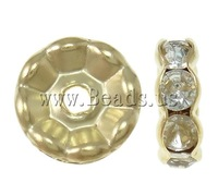 Free shipping!!!Brass Spacer Beads,Tibetan Jewelry, Donut, gold color plated, with rhinestone, nickel, lead & cadmium free