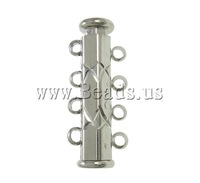 Free shipping!!!Brass Slide Lock Clasp,Bling, platinum color plated, 4-strand, nickel, lead & cadmium free, 10x25x6.50mm