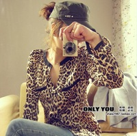 nEW Hot Sale 2013 Sexy New Women Casual Wild Leopard Shirt Long-sleeved Top Blouse S/M/L/XL Free Shipping