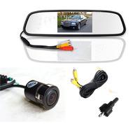 mirror monitor 4.3Inch car TFT  + 18.5mm mini embeded hd camera system AV2 for back-view camera