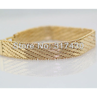 wholesale Massive 18k Rose Gold GF Bracelet Solid Knit Link Chain 19.5cm,10mm Mens or  Womens jewelry