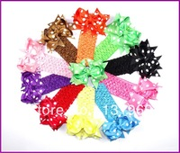 "20 pcs/lot  4"" Baby Girl Toddlers Grosgrain Ribbon for Hair bows Dot boutique Flower clips 1.5"" Crochet headband Free shippig K2"