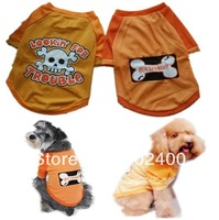 Free Shipping Skull Bone Pet Summer Spandex Mesh Tshirt Halloween Dog  Clothes Fashion Vest