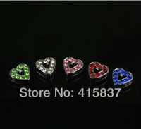 50pcs 8mm mixed color zinc alloy and rhinestone Heart Slide Charms DIY charms Fit 8mm Pet Collars Wristbands Belts free shipping