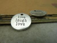 Letter live laugh love tags charm pendant, round, antique silver, 20mm, wholesale