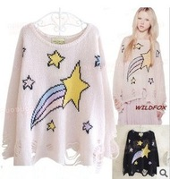 2014 Autumn Fashion star print sweater women street style wear hole loose sweater white pink black  good quality free shipping