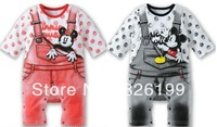 Wholesale 2013 Autumn Baby Toddler Mickey Minnie Mouse Rompers The Overalls Print For Boys Girls Cartoon Infant Clothes