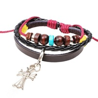 Cross charm leather woven bracelet men women punk Free shipping 24pcs/lot