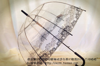 Creative transparent lace parasol mushroom umbrella long umbrella umbrella rain umbrella free shipping princess