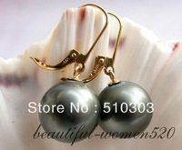 14mm Tahitian black south sea shell pearl earring 14k