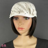 women's paillette lace oblique stripe beret cap fashion trend of the summer comfortable hat