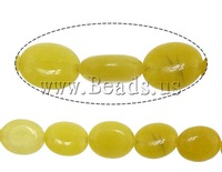 Free shipping!!!Jade Beads,2013 new summer, Jade Yellow, Flat Oval, 11x9x4.50mm, Hole:Approx 1mm, Length:15 Inch, 36PCs/Strand