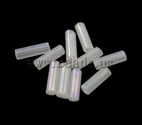 Free shipping!!!Rainbow Glass Seed Beads,Personality, Tube, rainbow, translucent, clear, 2x6mm, Hole:Approx 1mm, 15000PCs/Bag
