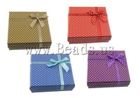 Free shipping!!!Cardboard Jewelry Set Box,Supplies For Jewelry, finger ring & earring & necklace, Square, mixed colors