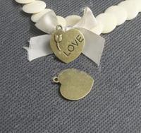 Alloy pendant, charms, heart shape, 23x23mm, 2.2gram/pc, antique brass plating, item ALP1008