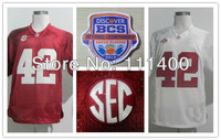 2013 BCS cheap NCAA Jerseys Alabama Crimson Tide #42 Eddie Lacy white/ red cheap NCAA football jersey size 48-56 mix order free