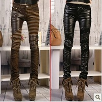 Free Shipping Women' PU Leather Patchwork Jeans Pants Fashion Boots Pants Leasure Trousers Pencil Pants