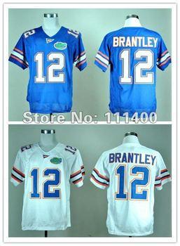 cheap NCAA football jersey Florida Gators 12 John Brantley Blue White jersey,embroidery logo,can mix order,free ship