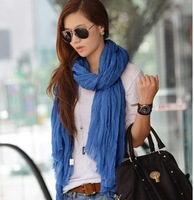 Free shipping Hot-selling autumn and winter voile material warmming women's scarf moq 6pcs  solid color scarf