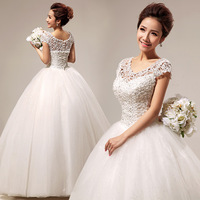 Full Length Princess Lace Bridal Dress, Vintage Wedding Dresses Free Shipping