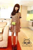 Women casual fashion turn-down collar short sleeve leopard pattern loose dress S free shipping A529-634#