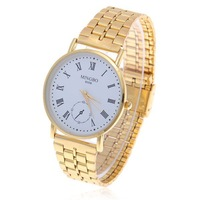 2012 New style.Wholesale Trendy MINGBO Roman Numerals Hour Marks White Round Dial Steel Quartz Wrist Watch for Men B009 (Golden)