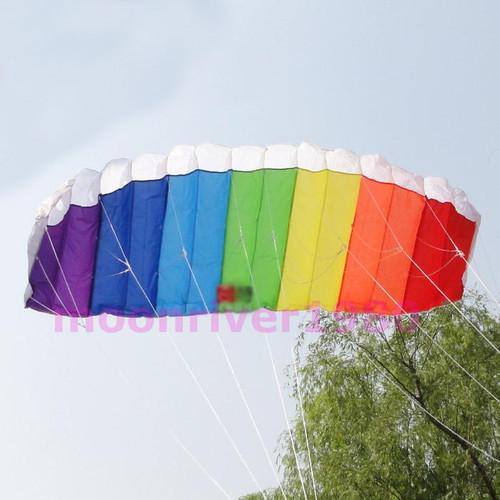 Free Shipping Power Dual Line Stunt Parafoil Parachute Rainbow Sports Beach Kite For Beginner(China (Mainland))