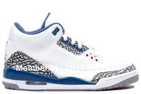 Free Shipping White Cement Grey True Blue Retro Style Men Basketball Shoes