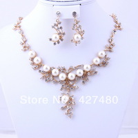 Free shipping Fashion Classic Imitation Pearl Necklace Set Gold Plated Elegant Pearl Jewelry Sets
