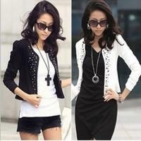 2014 New Lady's Long Sleeve Shrug Suits Jacket Fashion Cool Women's Rivet Coat   Two Colors Cool Women's Rivet Coat