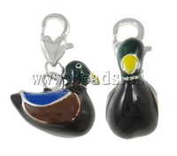 Free shipping!!!Zinc Alloy Lobster Clasp Charm,Birthday Gift, Duck, silver color plated, enamel, black, nickel