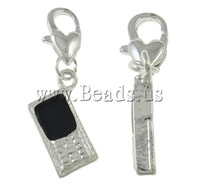 Free shipping!!!Zinc Alloy Lobster Clasp Charm,Lovely Jewelry, Telephone, silver color plated, enamel, nickel