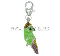 Free shipping!!!Zinc Alloy Lobster Clasp Charm,High quality, Bird, silver color plated, enamel, nickel, lead & cadmium free
