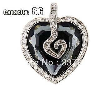 Wholesale 30pcs/lot Crystal Heart Design 8G USB Flash Drive (Black)