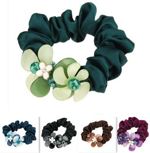 X-004 fashion solid color with rhinestone resin flower headband elastic for women, ladies elegant ribbon hair ties headwrap