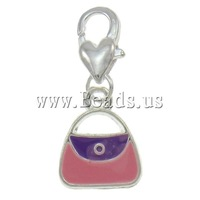 Free shipping!!!Zinc Alloy Lobster Clasp Charm,2013 new, Handbag, silver color plated, enamel, nickel, lead & cadmium free