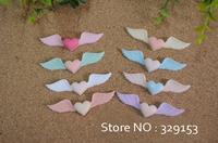 100Pcs Mixed Wings Heart Flatback Scrapbooking Resin 0r DIY phone case decoration 8colors