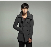 New Fashion Men Wool Coat Short style Winter warm Jacket  Outerwear pea Coat MW28-1 6 colors