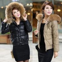 New 2013 Large Fur Collar Short Design Down Coat Women Slim Hooded Outerwear Real Fur Down Jacket Autumn Winter Coat