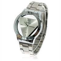 $15 off per $150 order Fashionable Bariho Triangle Shaped Dial Stainless Steel Wrist Watch for Men A112 (Silver)