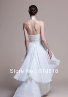 Sexy  V-neck   A line    Chiffon   Ruffles  Beading   long  dress Party   Prom  Evening  Dress  2013