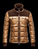 Hot Sale!!! 2013 Black/Gold New Style Fashion men fashion leisure Down jacket Heavy Coat, Men's wear winter Outdoor waterproof